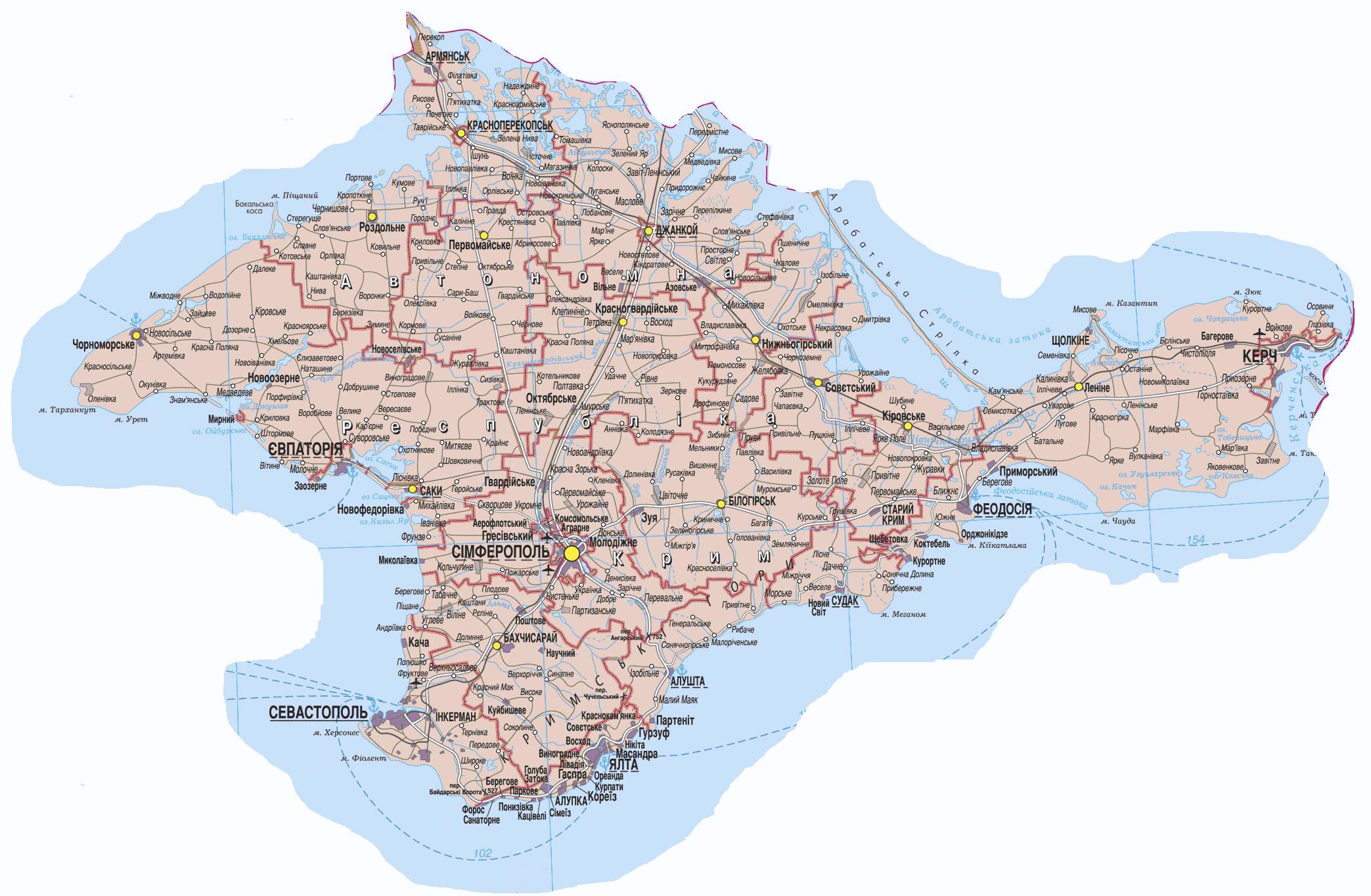 Карта крыма туристическая русский
